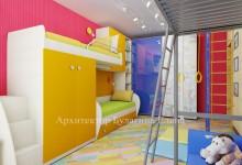 Интерьер детской комнаты с оборудованной лоджией