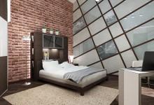 Спальня выполнена в стиле лофт одна