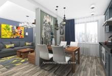 """Интерьер кухни гостиной в 3-комнатной квартире, ЖК """"Мир Митино"""""""