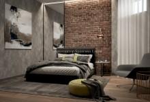 Интерьер спальни с ванной в стиле лофт