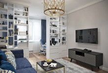 Квартира 62 кв.м. в современном стиле с элементами ар-деко в ЖК Бутово Парк