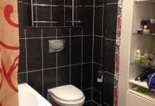 Черно-бело-красная ванная+коридор