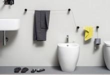 Вешалка для ванной: тросы и цилиндры