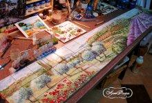 """Фартук для кухни """"Цветочный рынок  в Провансе""""."""