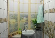 Когда в туалет дизайн не входит. Фальш-окно. Раковина в маленьком туалете.