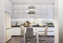 Красота белого в гостиной и кухне