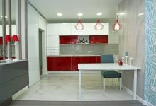 Квартира для друзей с красной кухней
