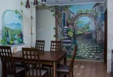 """Роспись стен в гостиной-столовой """"Дорога к морю"""""""