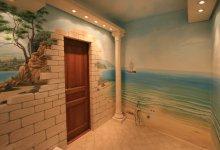 Роспись стен, Москва. Панорама в ванной комнате.