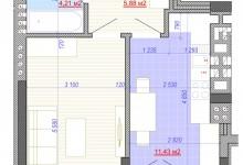Перепланировка 1к. квартиры ~40 кв.м.