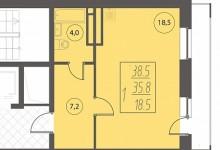 Перепланировка однокомнатной квартиры 35.8