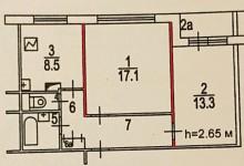 Перепланировка в 2-х комнатной квартире П-30