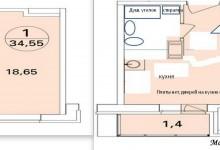 Планировка 1-комнт.квартиры 35 кв.м.