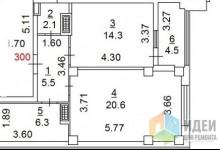 Помогите переделать так что бы было две комнаты и кухня гостинная