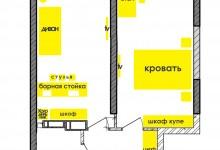 Помогите с расстановкой мебели в 1к 47 м2 в новостройке
