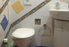 При гостиной, а именно гостевой туалет