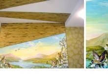 Ручная роспись стены в спальне
