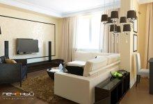 Дизайн интерьера гостиной-студии в стиле фьюжн