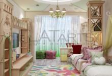 Спальня для принцесс в типовой комнате 18 кв. м