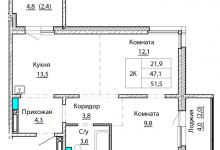 Требуется помощь в частичной перепланировке 2-х комнатной квартиры 51 кв.м.