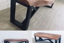 -лофт3000-  Журнальный стол из дуба с интересным подстольем