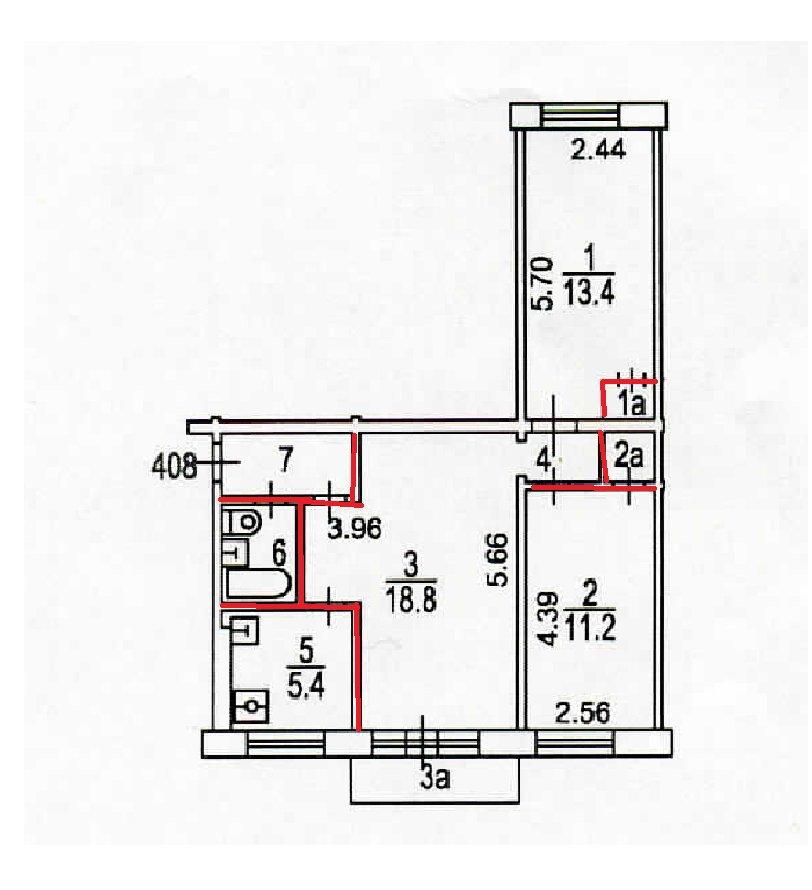 Перепланировка трехкомнатной квартиры серии II-49Д