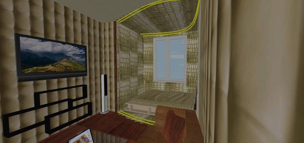 Помогите правильно сделать зонирование в спальне-гостиной.  Подиум.  Помогите подобрать материалы.