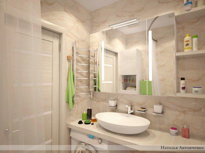 Дизайн ванной с накладной раковиной