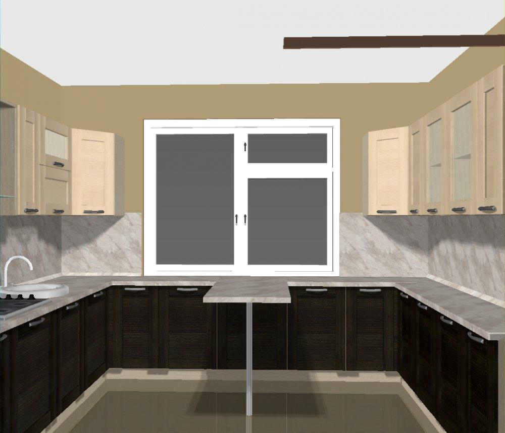 Кухни с окном посередине фото