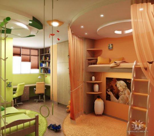 Дизайн детской комнаты для двоих 9 кв