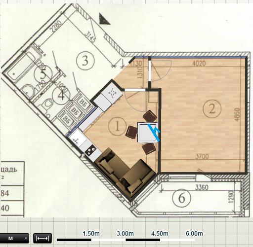 Пятиугольная кухня дизайн
