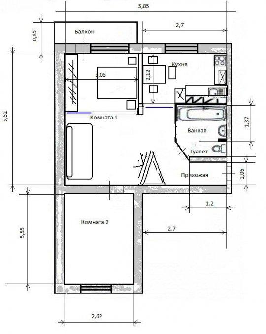Размер стандартного балкона в доме улучшенной планировки..