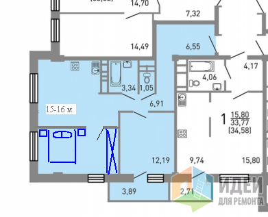 Две отдельные спальни и небольшая кухня-гостиная