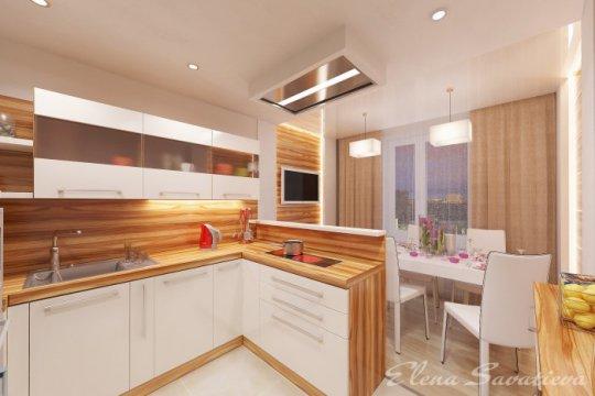 Дизайн кухни 20 кв.м фото с двумя
