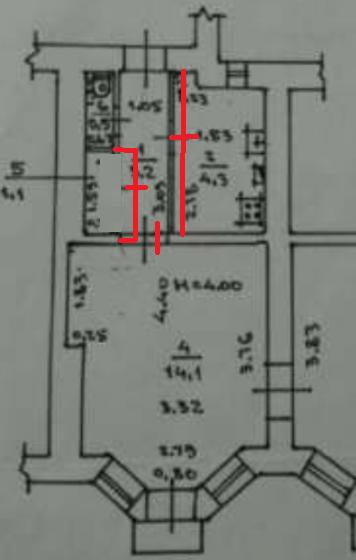 Вариант 1. Сдвинуть стену кухни на 15 см.Дверь из коридора в комнату поставить узкую (80 см вместе с дверной коробкой). Увеличить ширину помещения для душевой на 30 см. Коридор в этой узкой части всего 80 см.