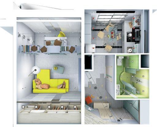 Дизайн однокомнатной квартиры студии.
