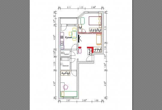 Перепланировка 2 комнатной квартиры в доме типа ип-46с идеи .