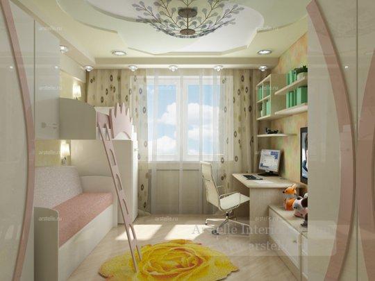Дизайн маленькой комнаты в трехкомнатной квартире.