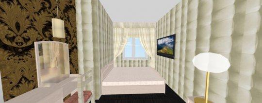 спальня-вход с гостиной через раздвижные двери