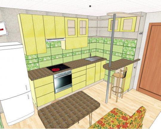 Фото дизайн проектов кухни 9 кв.м