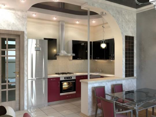 Дизайн интерьера зал с кухней