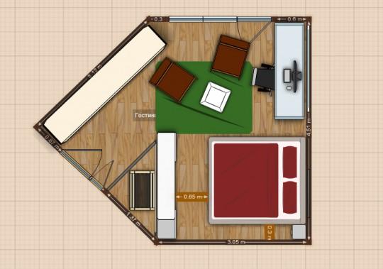 Дизайн пятиугольной комнаты