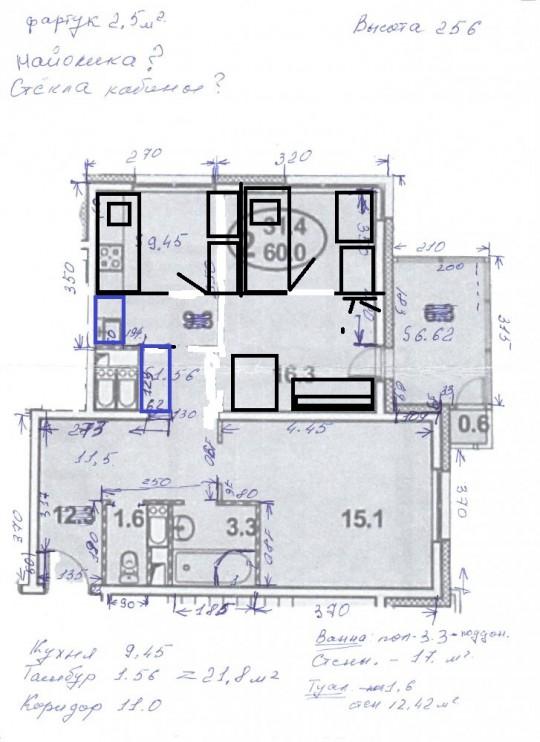 Ранее озвученное мной предложение - очень схематично. Вверху две детских размером 2,7 на 2. Слева кровать, справа шкаф и стол. Кухонный гарнитур длиной 2,8.