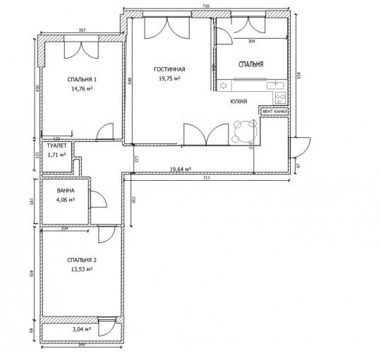 Соглашусь с  ipeoun , планировка от застройщика хорошая, но если уж так необходимо выделить отдельную гостевую зону, посмотрите такой вариант. В стене между гостевой и кухней витраж или какая-то прозрачная вставка.