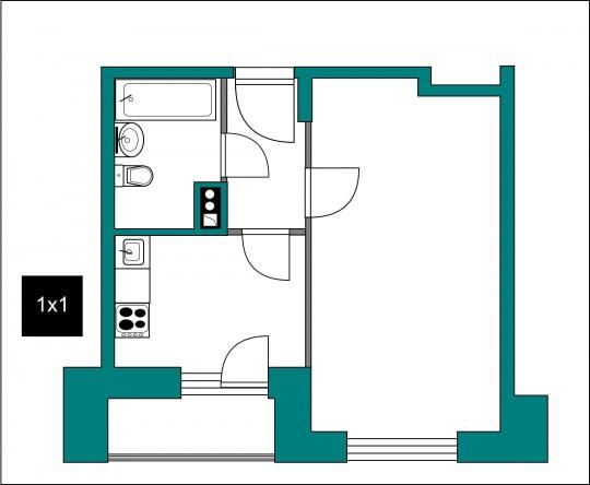 примерно исходный, если ориентироваться по пропорциям ванны, дверей, площадей и т.д.