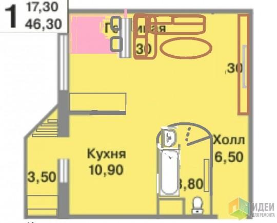 Не смогла нарисовать занавесь и шторы между спальным местом и гостиной, но предусмотрено :-) Дверь в санузел по факту установить где лучше, но именно в этом районе. На лоджии-уголок для творчества. Гардеробную убрать, достаточно плательного шкафа и модулей в гостиной.