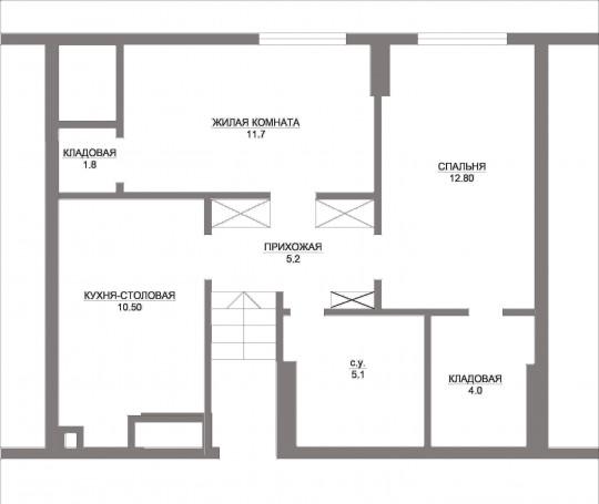 вот самый простой и чистый вариант, без сумасшедших кладовых, и бредовых закоулков, с нормальной прихожей и площадями комнат, с  хорошей кухней
