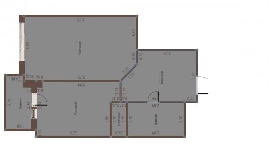 Гостинная 1-комната, гостинная 2-кухня, второй балкон-ванна. Извините, что так непрофессионально.