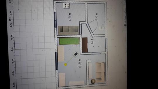 НУЖНА ПОМОЩЬ-Вся комната 15 м, вдоль окна 4,25 м; вдоль стены 4,35 м. Где кровать зеленая 2 метра. На картинке стоят 2 стола. В прихожей шкаф коричневый.